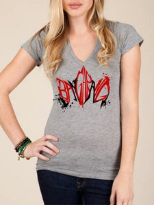 Image of Bangarang by Campbell Herman/Fan Series Womens V-neck-Heather Grey