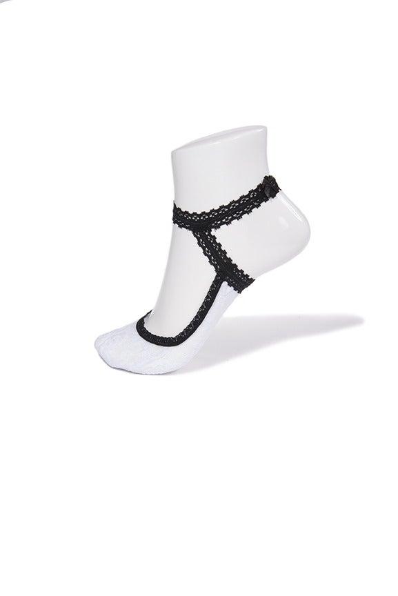Image of Nikita - White with Black Ankle Strap