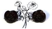 Image of Black Rose Earrings Large