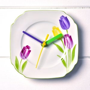 Image of Hand painted Tulips Vintage China Plate Wall Clock