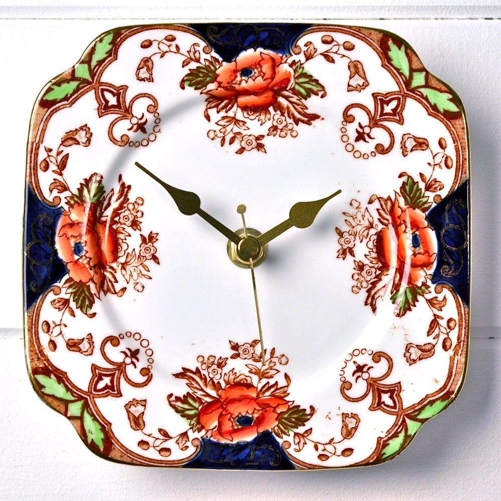 Image of Navy Blue and Brown Square Vintage China Plate Wall Clock