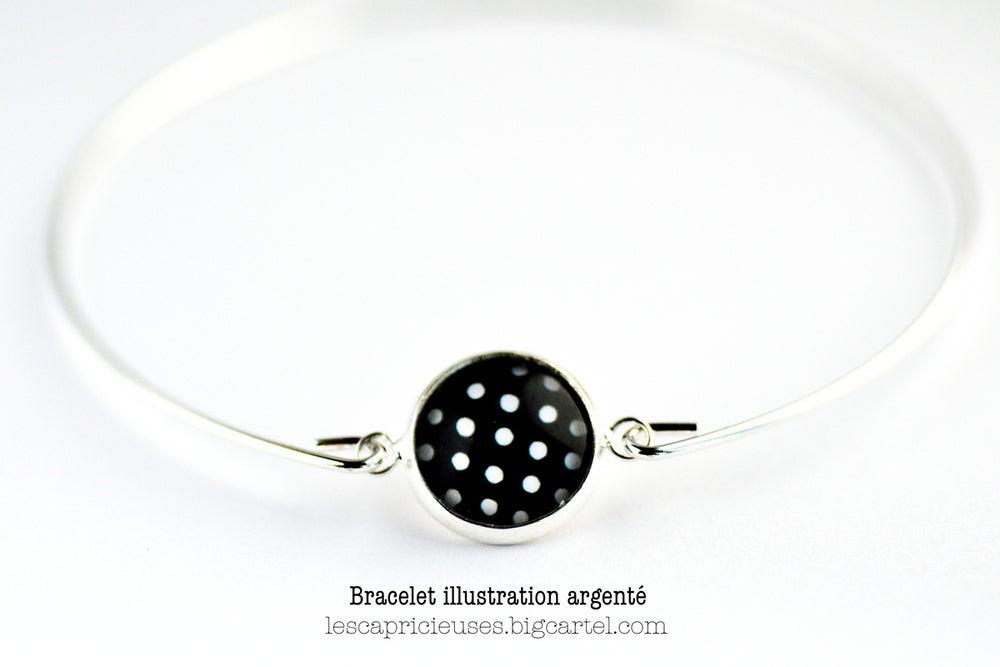Image of Bracelet fin illustration à pois, laiton argenté