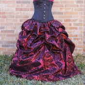 Image of Damask Belle Skirt Deep Red Burgundy with Black