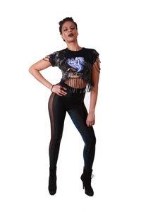 Image of EXTRA HIGHWAIST BLACK 'N' BLUE CROC LEGGINGS...