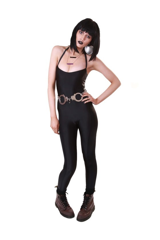 Image of ONEIKA Halterneck Catsuit in BLACK LEATHER LOOK