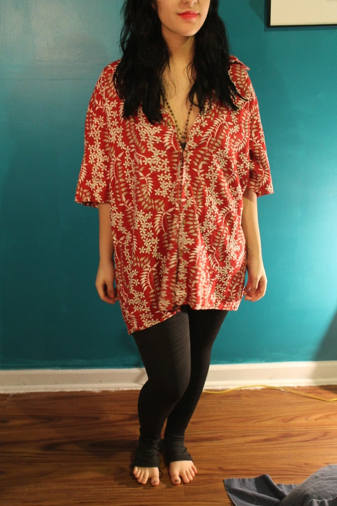 Image of Red hawaiian button up