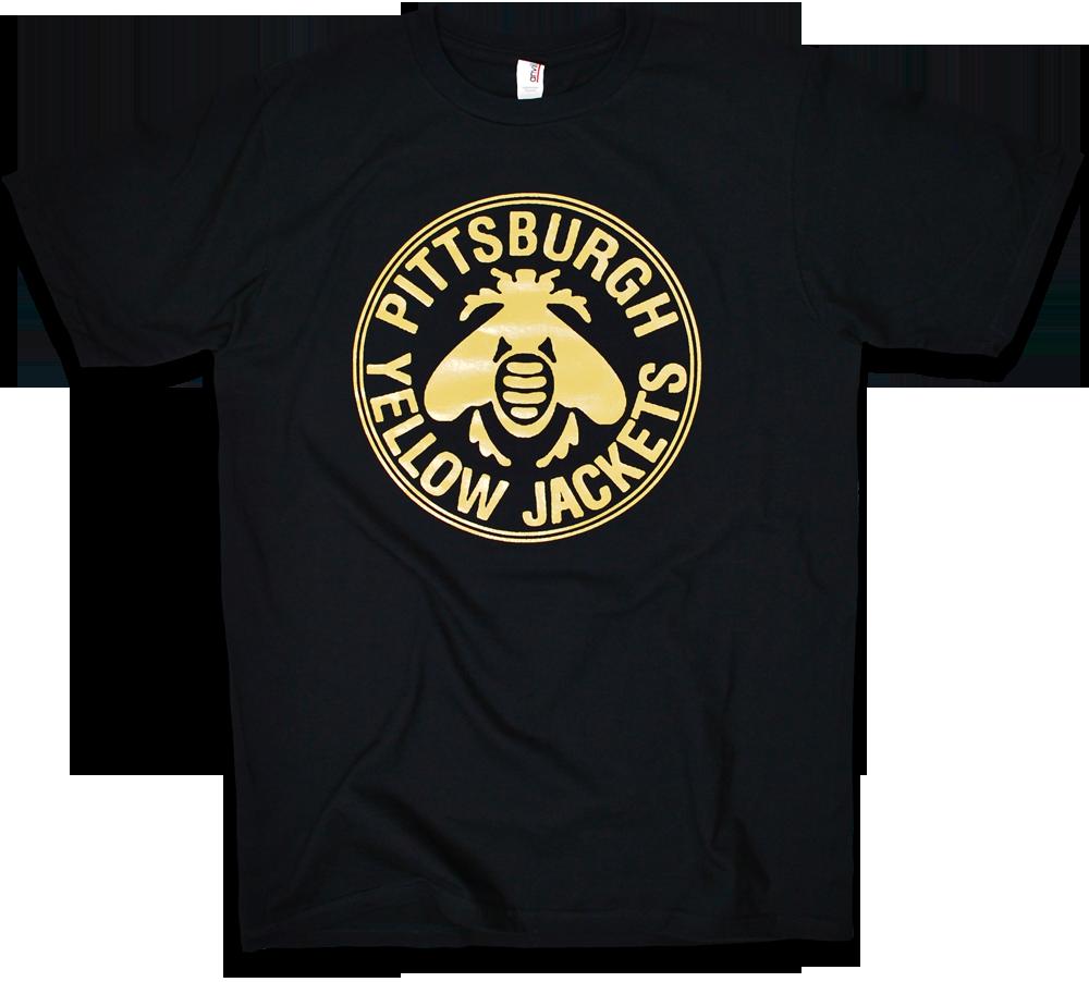 Pittsburgh yellow jackets 1915 custom hockey tee by for Custom t shirt printing pittsburgh
