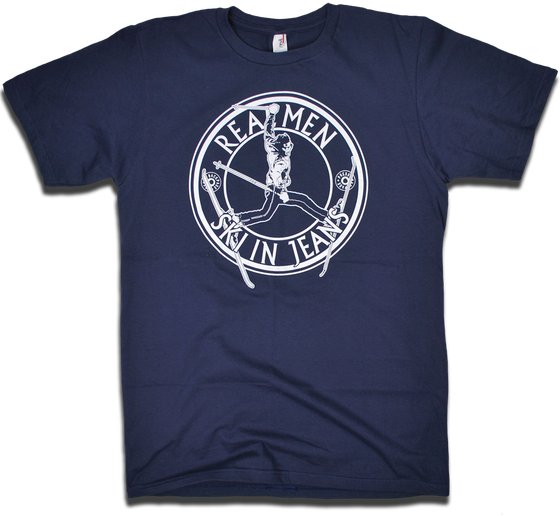 "Image of ""Real Men Ski In Jeans"" tee by Backpage Press"