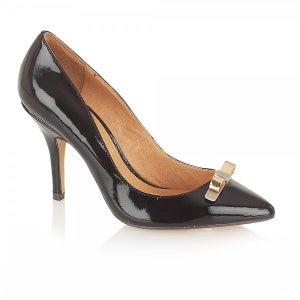 Image of Ravel Lesley Black Patent Pointed Toe Court Shoe
