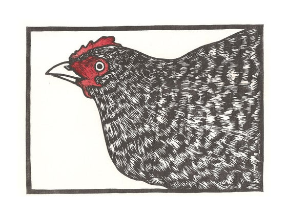 Image of Jay's Gray Chicken Woodcut