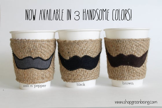 Image of Mustache Coffee Cozy. Coffee Koozie. Coffee Sleeve