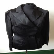 Image of 1940s black satin double breasted Hardy Amies tailored evening suit jacket