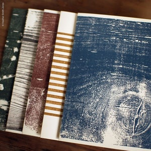 Image of Hand printed wood block card set, no. 2, muted colors