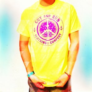 Image of PEACE AND ANCHORS TEE- NEON YELLOW W/PURPLE