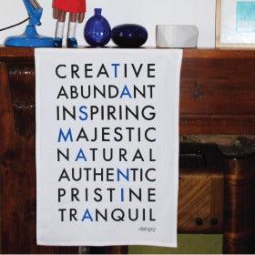 Image of Tasmanian Adjectives Tea Towel