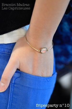 Image of Bracelet fin illustration Fleurette, laiton argenté