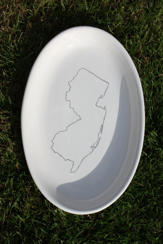 Image of Custom State Outline Platter with Heart on Town