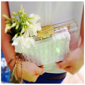 Image of Gold/Silver White Petal Personalised Perspex Acrylic Clutch Classic