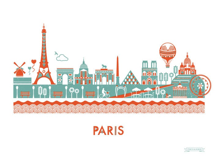 Image of Paris Skyline print