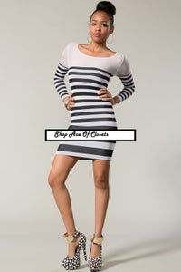 Image of Long Sleeved Stripped Bodycon