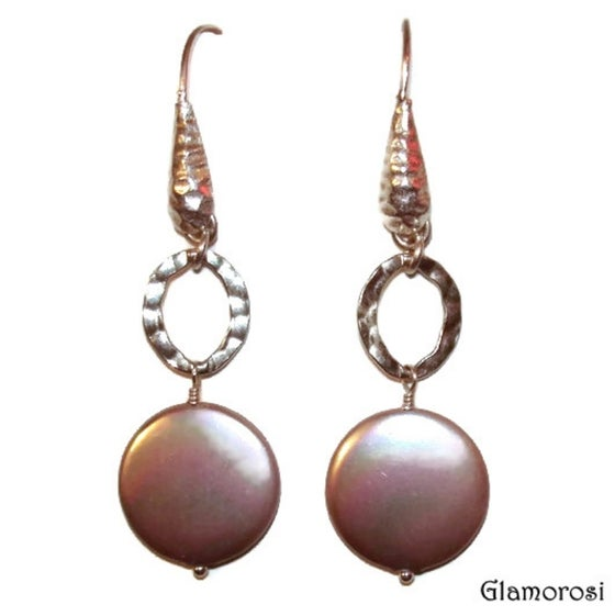 Image of Coin Pearl Earrings with Hammered Sterling Silver - Taupe, Cocoa, Beige