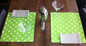 Image of 12 Piece Set - Polka Dots - Placemats w/Matching napkins OR Wine Glass Coasters