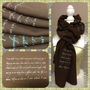 """Image of Handprinted """"I AM WHAT I AM' scarf"""