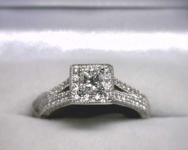 Image of 14K White Gold Diamond Engagement Ring(.28CT Princess Center)