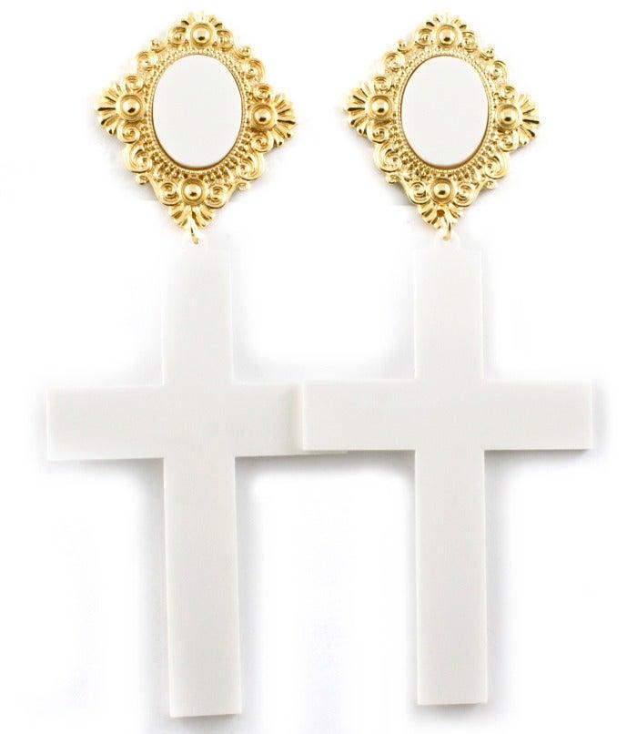 Image of Acrylic Cross Earrings - White