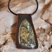 Image of Turquoise Gemstone Copper & Sterling Silver Pendant