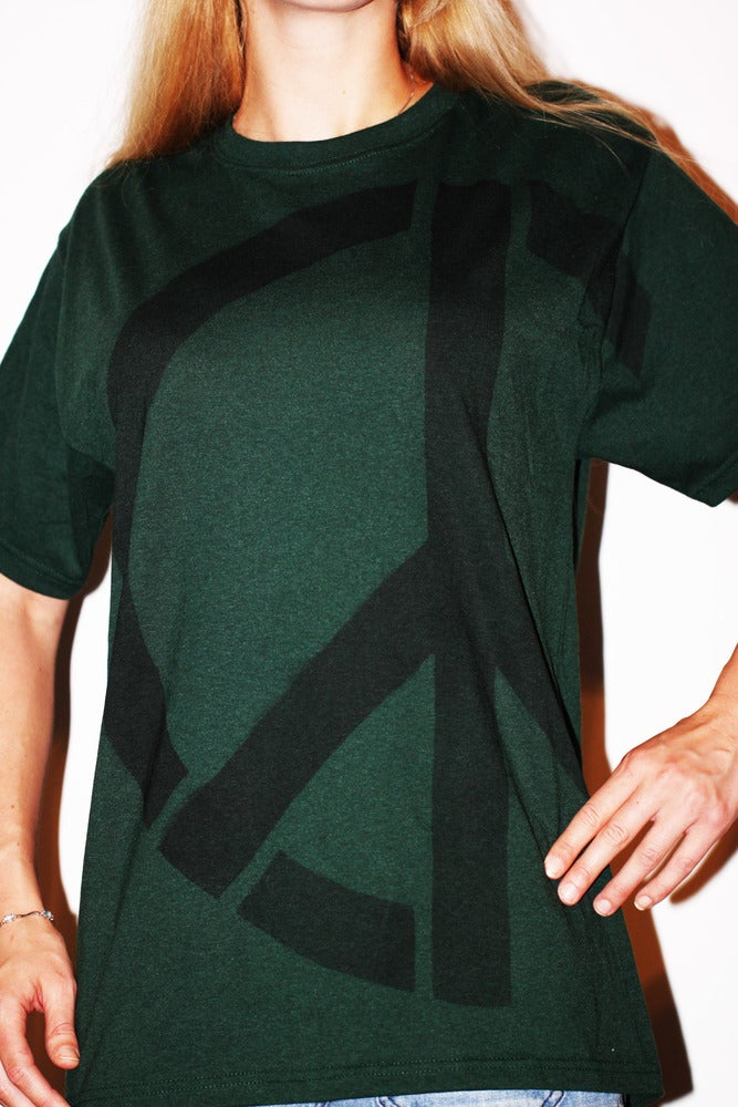 Image of UNISEX Green Side-Peace Recycled T