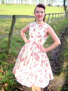 Image of 1950s garden party dress cream
