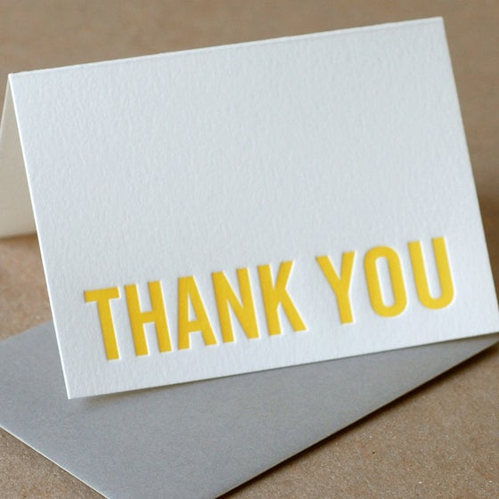 Image of 25 Sunshine Modern Block Letterpress Thank You Notes
