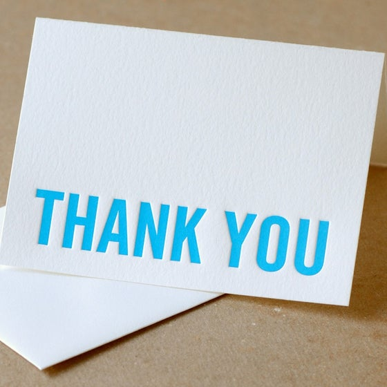 Image of 25 True Modern Block Letterpress Thank You Notes