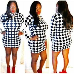 Image of 'Alice in Wonderland' Checkerboard Dress - PLUS