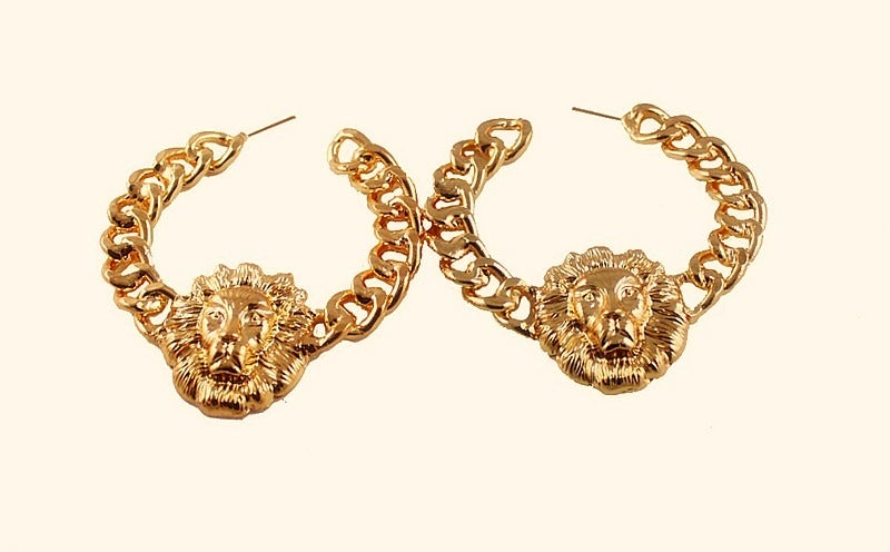 Image of Gold Lion Hoops - One Size