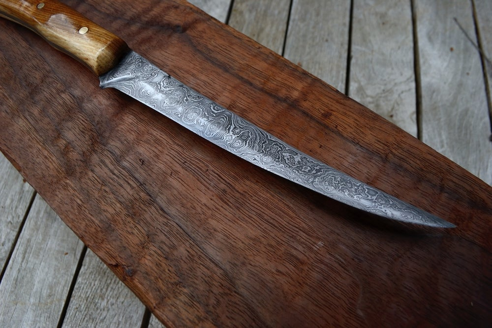 Image of Hand Forged Damascus Bird and Trout Fillet Knife