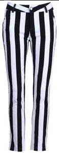 "Image of ""KIMMY"" HIGH RISE STRIPED CIGARETTE PANT"