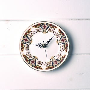 Image of Autumnal Brown Vintage Colclough Tea Plate Wall Clock