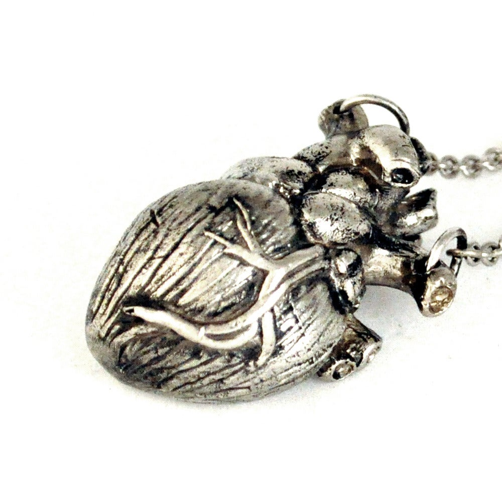 Image of Heart Necklace antique white brass
